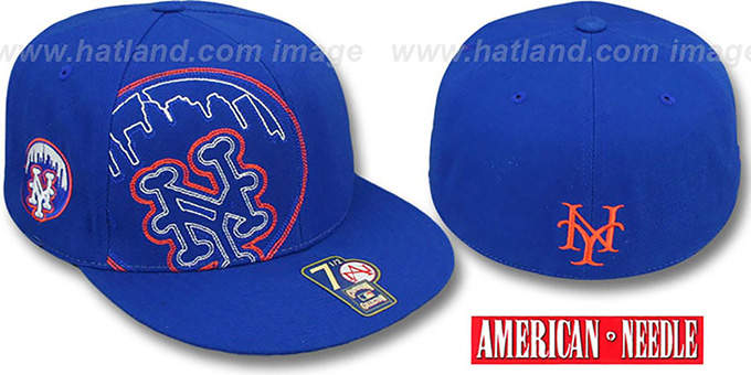 Mets 'HEADSTRONG' Royal Fitted Hat by American Needle : pictured without stickers that these products are shipped with