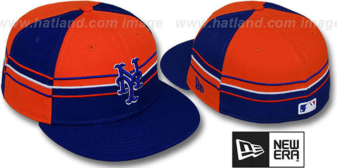 Mets 'HORIZONTAL WRAP' Royal-Orange Fitted Hat by New Era : pictured without stickers that these products are shipped with
