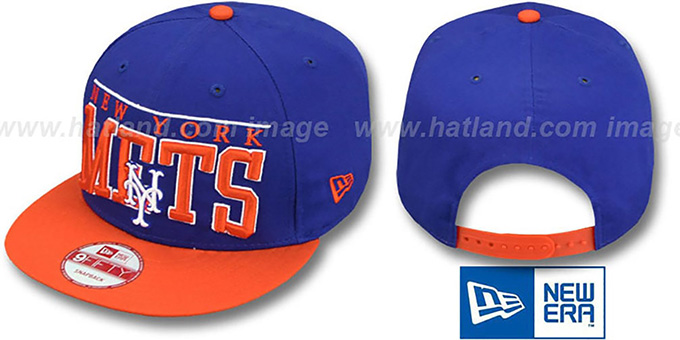 Mets 'LE-ARCH SNAPBACK' Royal-Orange Hat by New Era : pictured without stickers that these products are shipped with