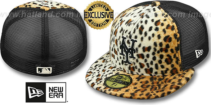 Mets LEOPARD 'ANIMAL-FUR MESH-BACK' Fitted Hat by New Era : pictured without stickers that these products are shipped with
