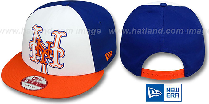 Mets 'LITTLE-BIG POP SNAPBACK' White-Royal-Orange Hat by New Era : pictured without stickers that these products are shipped with