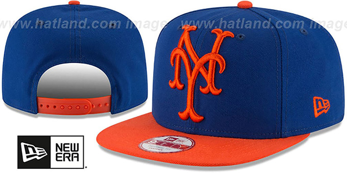 Mets 'LOGO GRAND REDUX SNAPBACK' Royal-Orange Hat by New Era : pictured without stickers that these products are shipped with