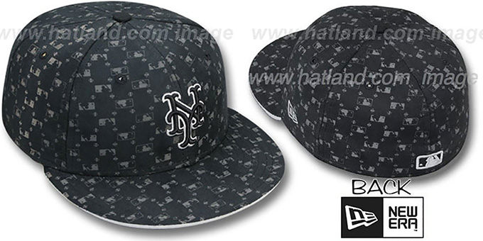 Mets 'MLB FLOCKING' Black Fitted Hat by New Era : pictured without stickers that these products are shipped with