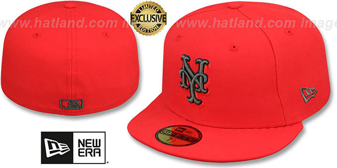 Mets 'MLB TEAM-BASIC' Fire Red-Charcoal Fitted Hat by New Era : pictured without stickers that these products are shipped with