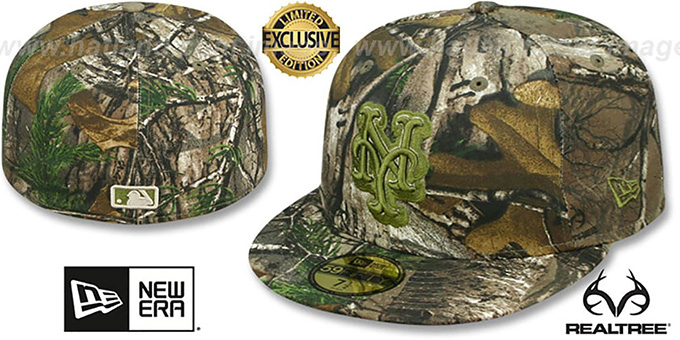 Mets 'MLB TEAM-BASIC' Realtree Camo Fitted Hat by New Era : pictured without stickers that these products are shipped with