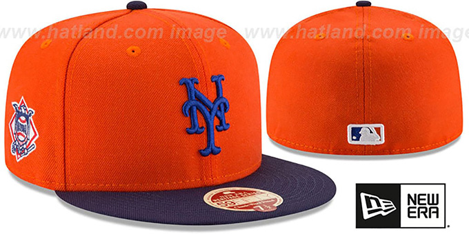 Mets 'MLB WOOL-STANDARD' Orange-Navy Fitted Hat by New Era : pictured without stickers that these products are shipped with