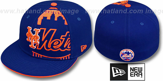 Mets 'NEGATIVE PANEL' Royal Fitted Hat by New Era : pictured without stickers that these products are shipped with
