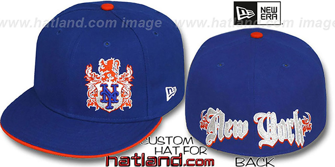Mets 'OLD ENGLISH SOUTHPAW' Royal-Orange Fitted Hat by New Era : pictured without stickers that these products are shipped with