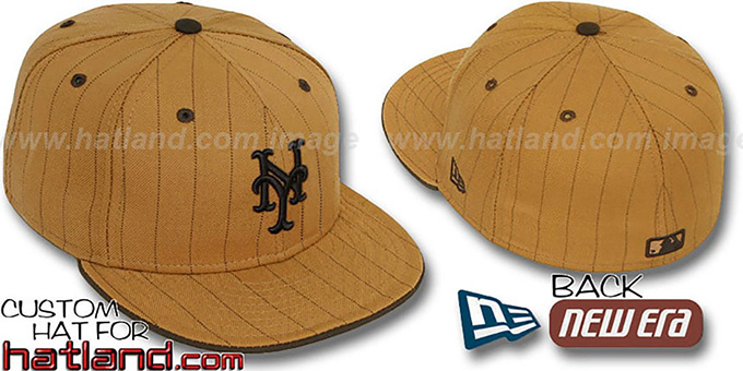 Mets 'PINSTRIPE' Wheat-Brown Fitted Hat by New Era : pictured without stickers that these products are shipped with