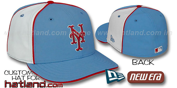Mets 'PINWHEEL-2' Columbia-White Fitted Hat : pictured without stickers that these products are shipped with