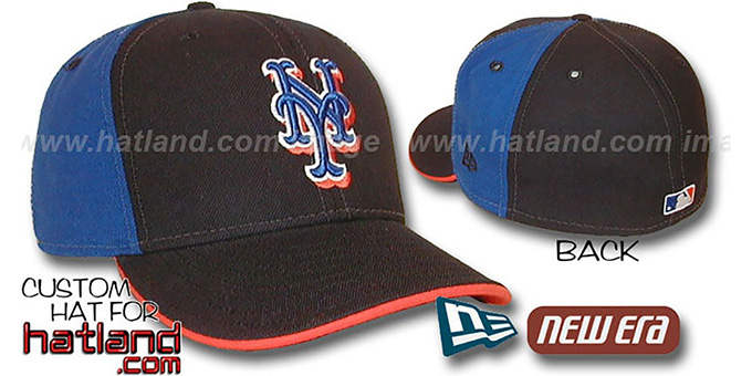 Mets 'PINWHEEL' Black-Royal Fitted Hat by New Era : pictured without stickers that these products are shipped with