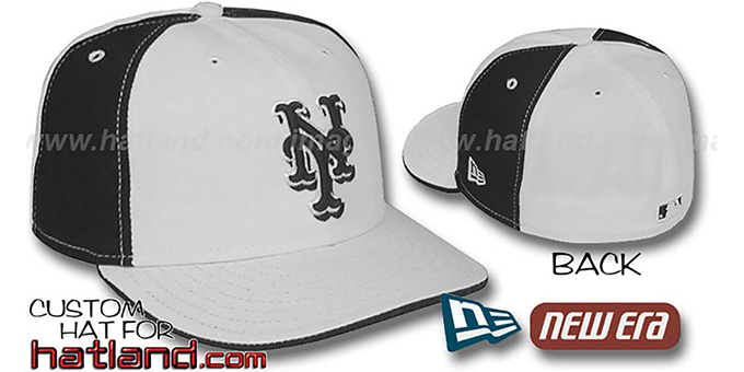 Mets 'PINWHEEL' White-Black Fitted Hat by New Era : pictured without stickers that these products are shipped with