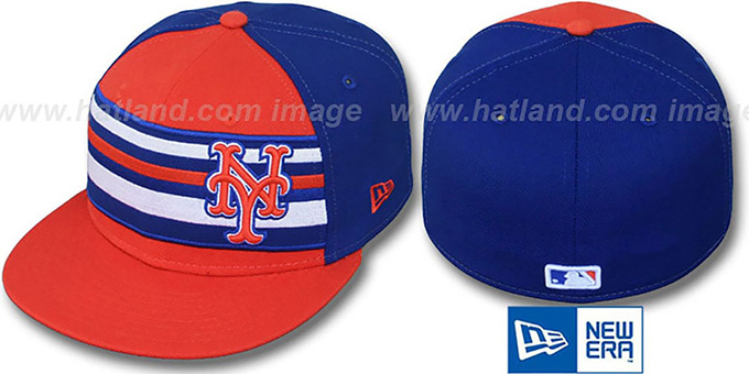 Mets 'PREMIUM' Orange-Royal Fitted Hat by New Era : pictured without stickers that these products are shipped with