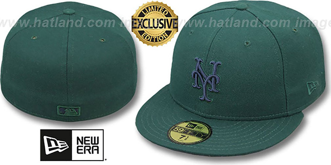 Mets 'QS UNDER PLAID' Green-Navy Fitted Hat by New Era : pictured without stickers that these products are shipped with