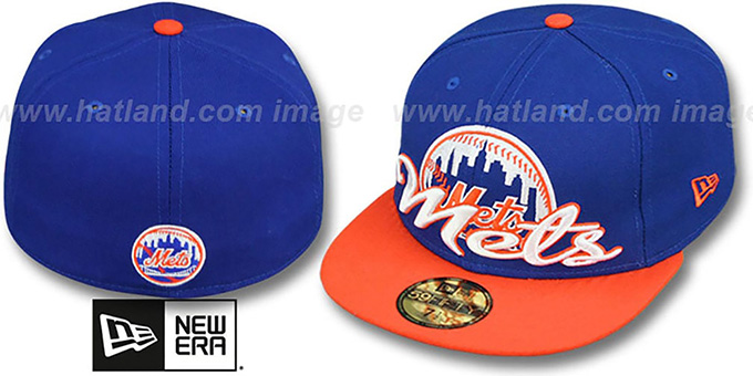 Mets 'SCRIPT-PUNCH' Royal-Orange Fitted Hat by New Era : pictured without stickers that these products are shipped with