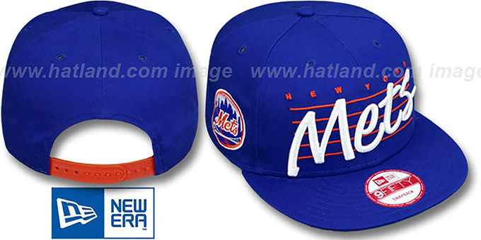 Mets 'SCRIPTLINER SNAPBACK' Royal Adjustable Hat by New Era : pictured without stickers that these products are shipped with