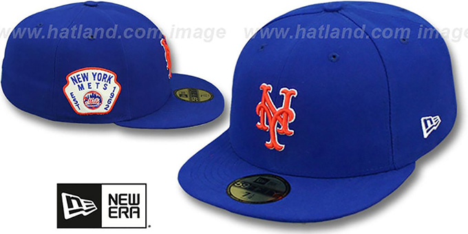 Mets 'SIDE TEAM-PATCH' Royal Fitted Hat by New Era : pictured without stickers that these products are shipped with