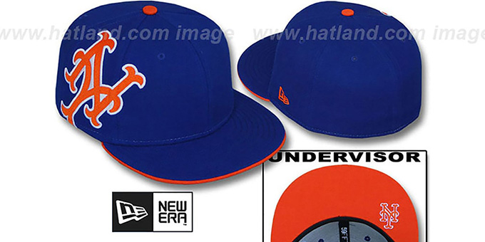 Mets 'SIDEWINGER' Royal Fitted Hat by New Era : pictured without stickers that these products are shipped with
