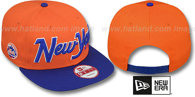 Mets 'SNAP-IT-BACK SNAPBACK' Orange-Royal Hat by New Era : pictured without stickers that these products are shipped with