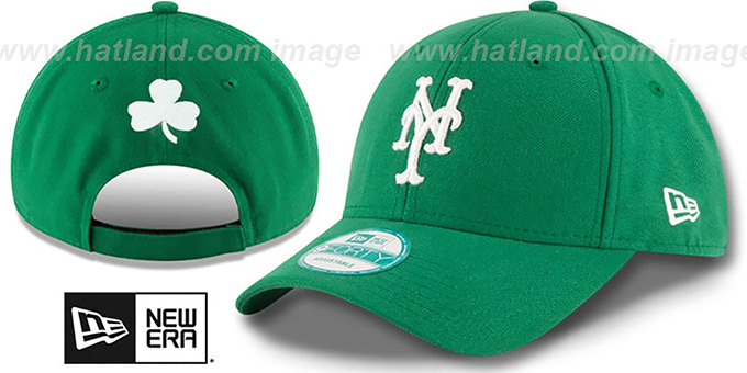 Mets 'ST PATRICKS DAY' Green Strapback Hat by New Era : pictured without stickers that these products are shipped with