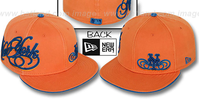 Mets 'SULTAN' Orange Fitted Hat by New Era : pictured without stickers that these products are shipped with