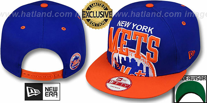 Mets 'SUPER-LOGO ARCH SNAPBACK' Royal-Orange Hat by New Era : pictured without stickers that these products are shipped with