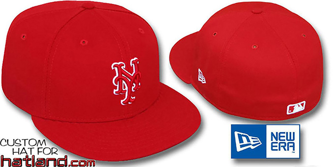 Mets 'TEAM-BASIC' Red-Red Fitted Hat by New Era : pictured without stickers that these products are shipped with