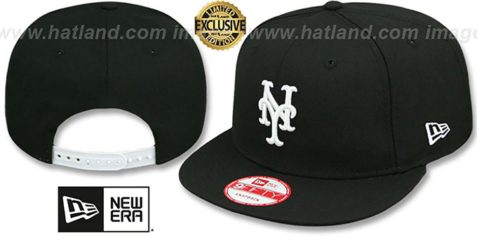 Mets 'TEAM-BASIC SNAPBACK' Black-White Hat by New Era : pictured without stickers that these products are shipped with
