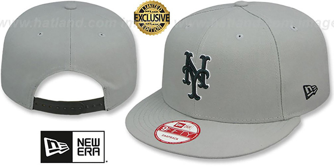 Mets 'TEAM-BASIC SNAPBACK' Grey-Black Hat by New Era : pictured without stickers that these products are shipped with