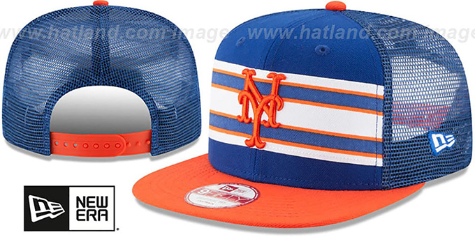 Mets 'THROWBACK-STRIPE SNAPBACK' Royal-Orange Hat by New Era : pictured without stickers that these products are shipped with