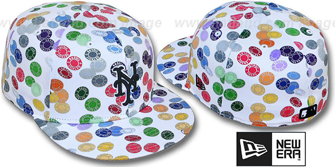 Mets 'TOKENS' White-Multi Fitted Hat by New Era : pictured without stickers that these products are shipped with