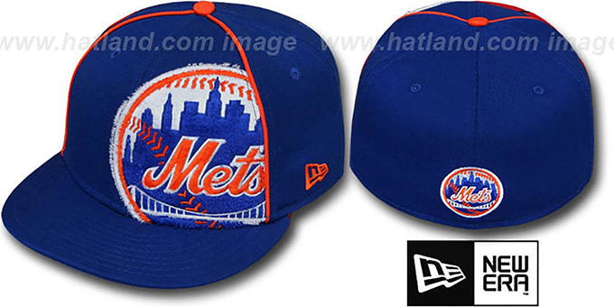 Mets 'TRIBULATOR' Royal Fitted Hat by New Era : pictured without stickers that these products are shipped with