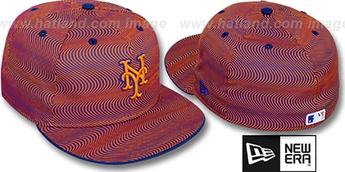 Mets 'TRIPPIN' Orange-Royal Fitted Hat by New Era : pictured without stickers that these products are shipped with