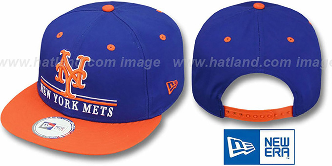 Mets 'UNDERLINE SNAPBACK' Royal-Orange Hat by New Era : pictured without stickers that these products are shipped with