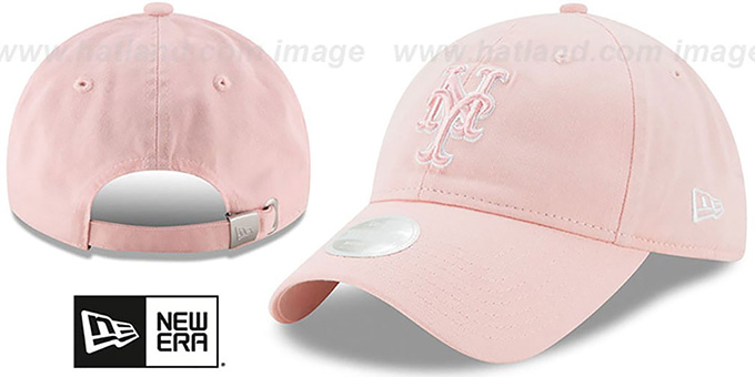 Mets 'WOMENS PREFERRED PICK STRAPBACK' Light Pink Hat by New Era : pictured without stickers that these products are shipped with