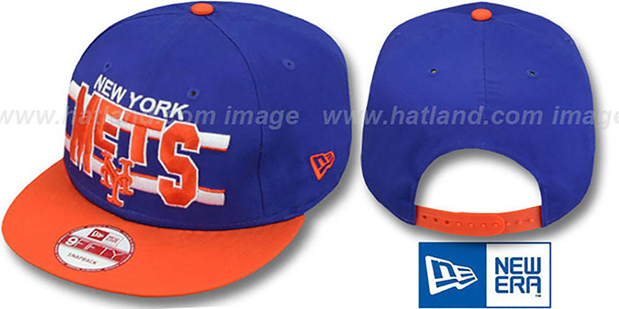 Mets 'WORDSTRIPE SNAPBACK' Royal-Orange Hat by New Era : pictured without stickers that these products are shipped with