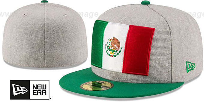 Mexico 'HEATHER GRAND' Grey-Green Fitted Hat by New Era : pictured without stickers that these products are shipped with