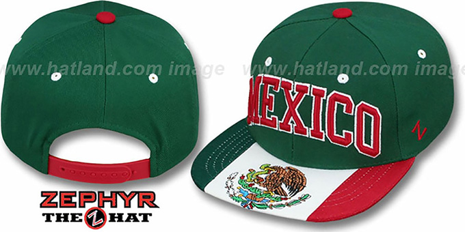 Mexico 'SUPERSTAR SNAPBACK' Green Hat by Zephyr : pictured without stickers that these products are shipped with