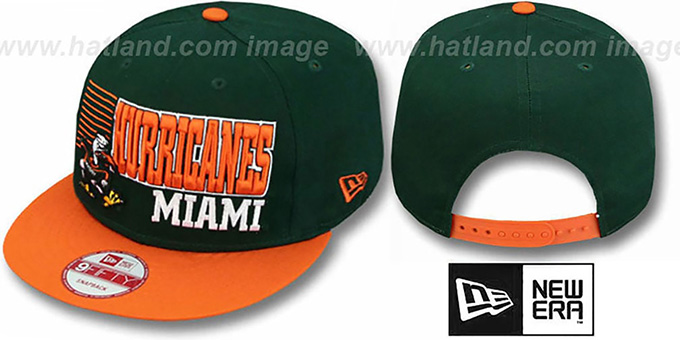 Miami '2T BORDERLINE SNAPBACK' Green-Orange Hat by New Era : pictured without stickers that these products are shipped with