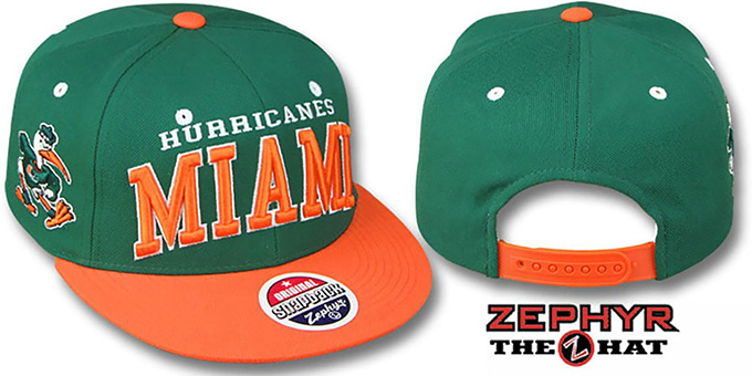 Miami '2T SUPER-ARCH SNAPBACK' Green-Orange Hat by Zephyr : pictured without stickers that these products are shipped with