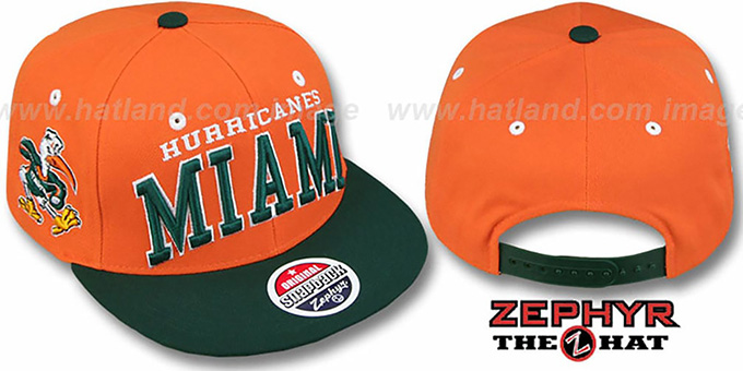 Miami '2T SUPER-ARCH SNAPBACK' Orange-Green Hat by Zephyr : pictured without stickers that these products are shipped with