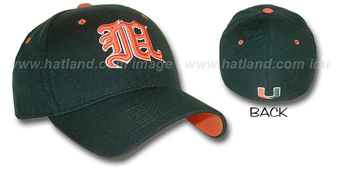 Miami 'KANJI' DH Fitted Hat by ZEPHYR - dark green : pictured without stickers that these products are shipped with