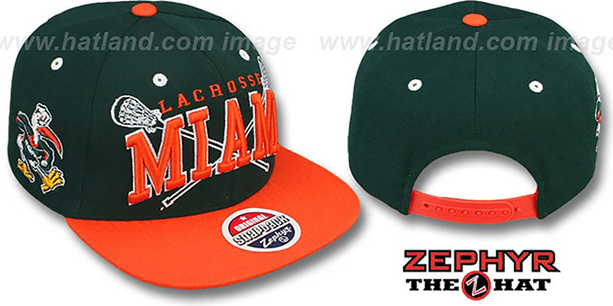 Miami 'LACROSSE SUPER-ARCH SNAPBACK' Green-Orange Hat by Zephyr : pictured without stickers that these products are shipped with