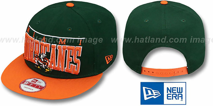 Miami 'LE-ARCH SNAPBACK' Green-Orange Hat by New Era : pictured without stickers that these products are shipped with