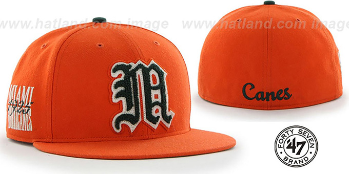 Miami 'NCAA CATERPILLAR' Orange Fitted Hat by 47 Brand : pictured without stickers that these products are shipped with