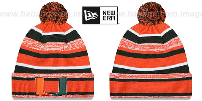 Miami 'NCAA-STADIUM' Knit Beanie Hat by New Era : pictured without stickers that these products are shipped with