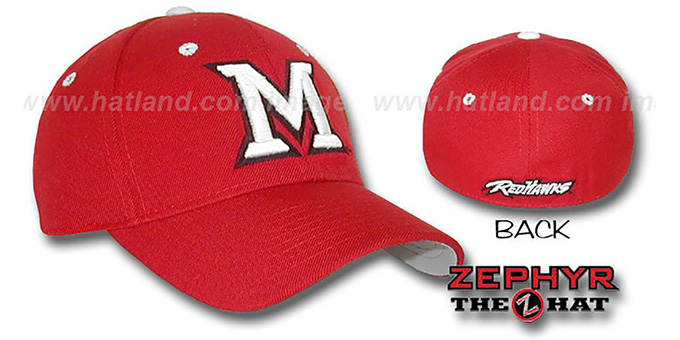 Miami Ohio 'DH' Fitted Hat by Zephyr - red : pictured without stickers that these products are shipped with