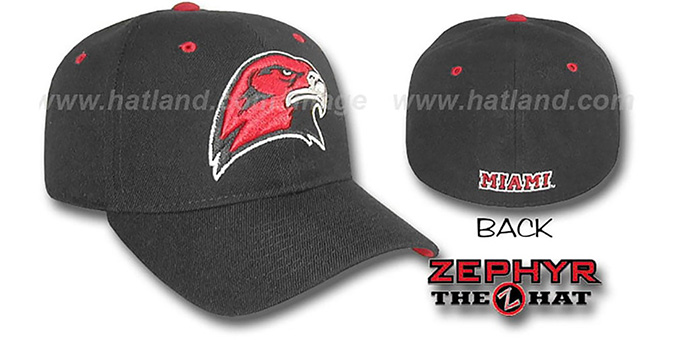 Miami Ohio 'DHS' Fitted Hat by Zephyr - black : pictured without stickers that these products are shipped with
