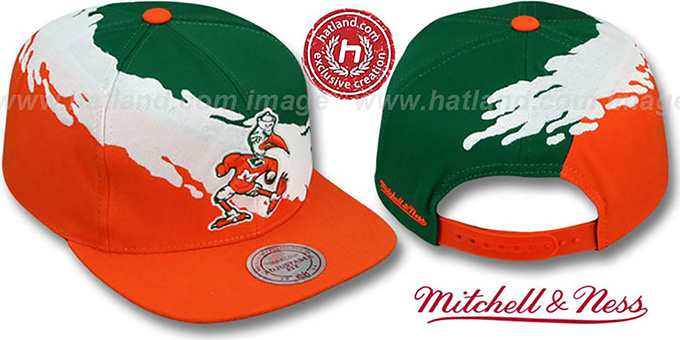 Miami 'PAINTBRUSH SNAPBACK' Green-White-Orange Hat by Mitchell & Ness : pictured without stickers that these products are shipped with