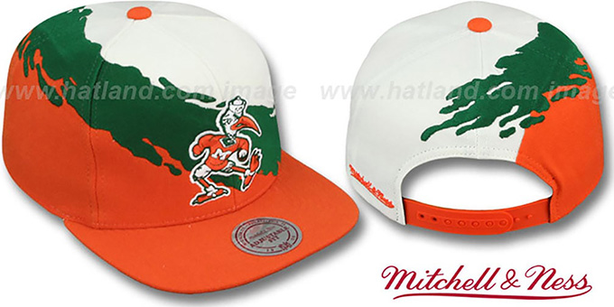 Miami 'PAINTBRUSH SNAPBACK' White-Green-Orange Hat by Mitchell & Ness : pictured without stickers that these products are shipped with